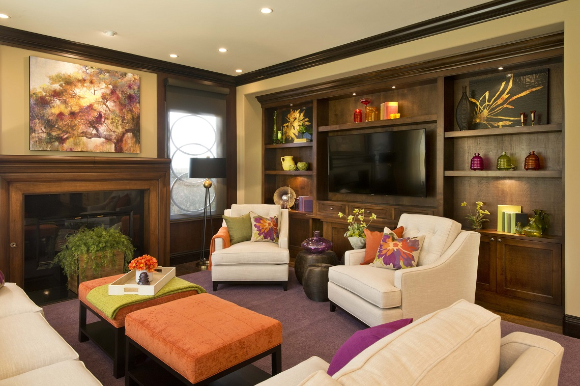 Vibrant transitional family room before and after san for Family in the living room