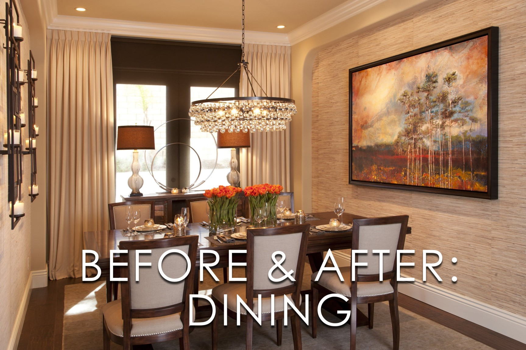 Vibrant Transitional Dining Room Before And After Design Ideas